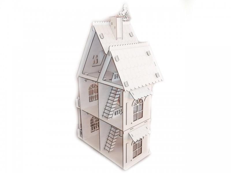 Трехэтажный коттедж (кукольный домик) из фанеры 3 мм, 80*50*40 см