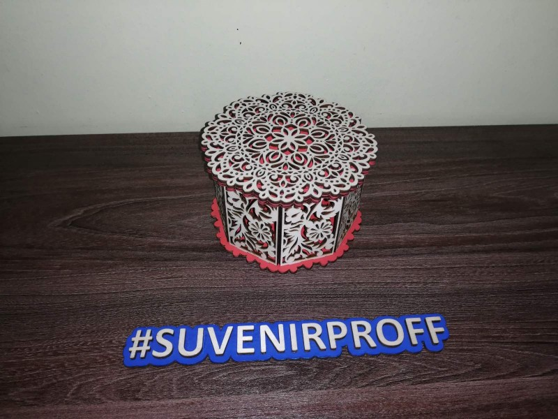 Восьмиугольная шкатулка из фанеры 3 мм, 13*13*7 см