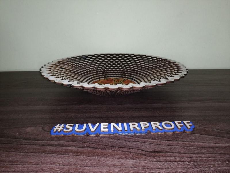 Деревянная тарелка волнистая с фотопечатью, D=33 см