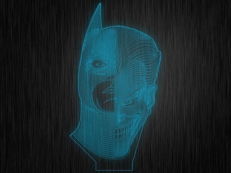 """Макет """"Бэтмен и джокер"""" для светильника"""