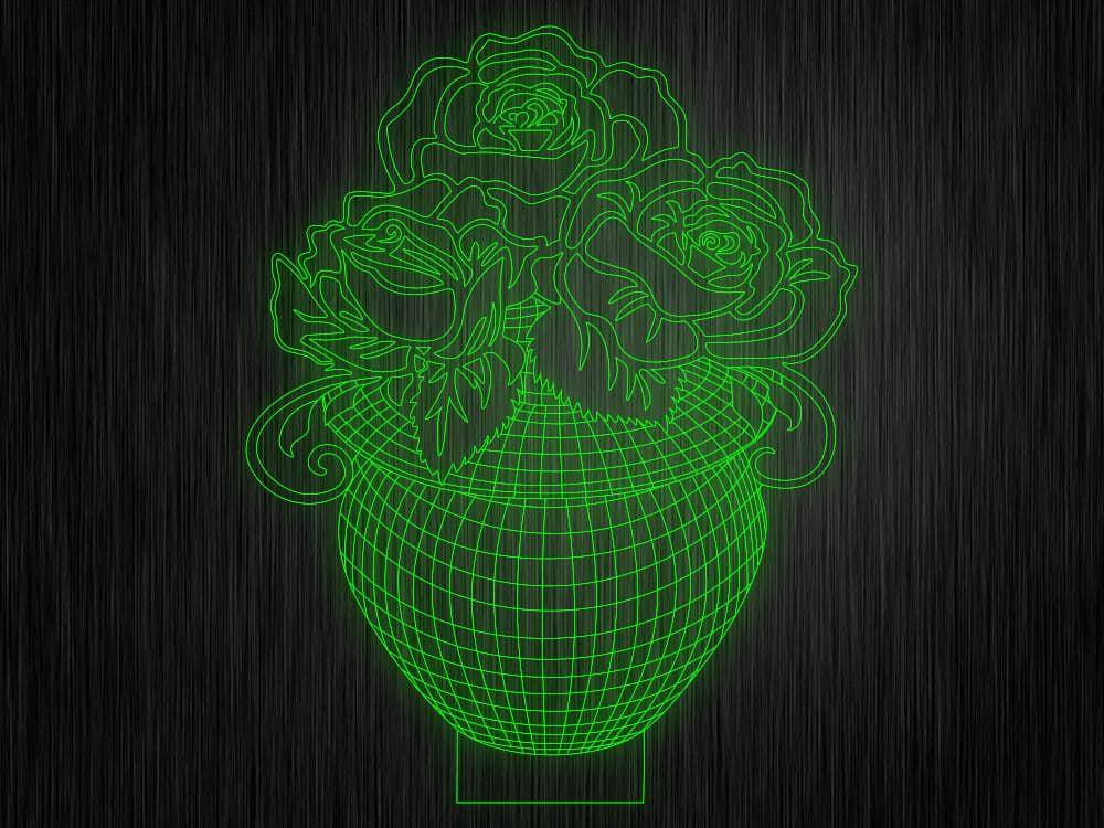 """3D ночник """"Ваза с цветами"""" на светодиодной подставке"""
