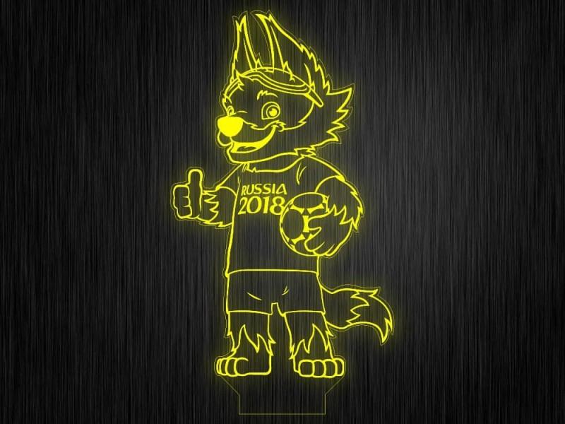 """Ночник """"Волк с мячом1"""" на светодиодной подставке"""