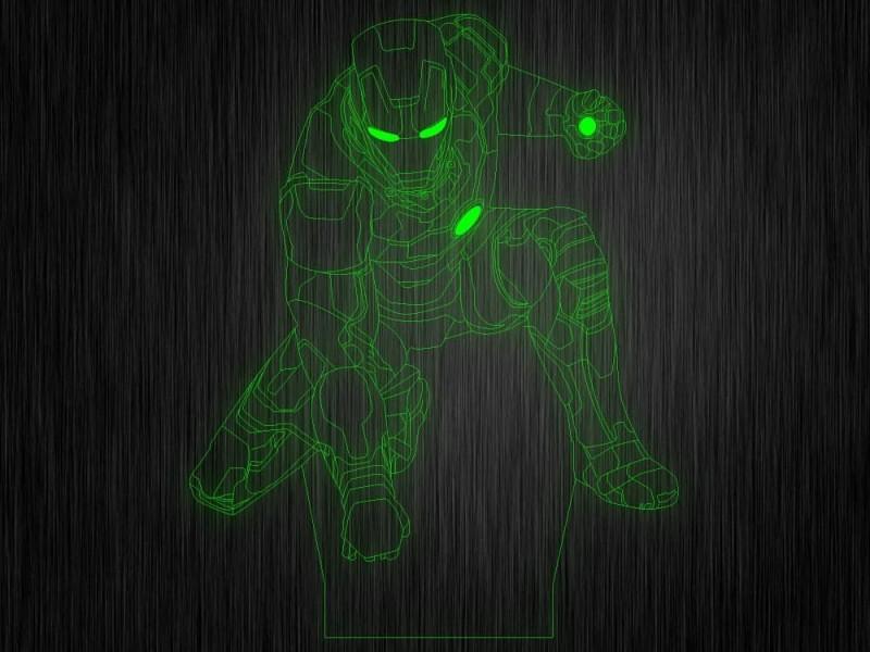 """Ночник """"Железный человек №477"""" из акрила на светодиодной подставке"""