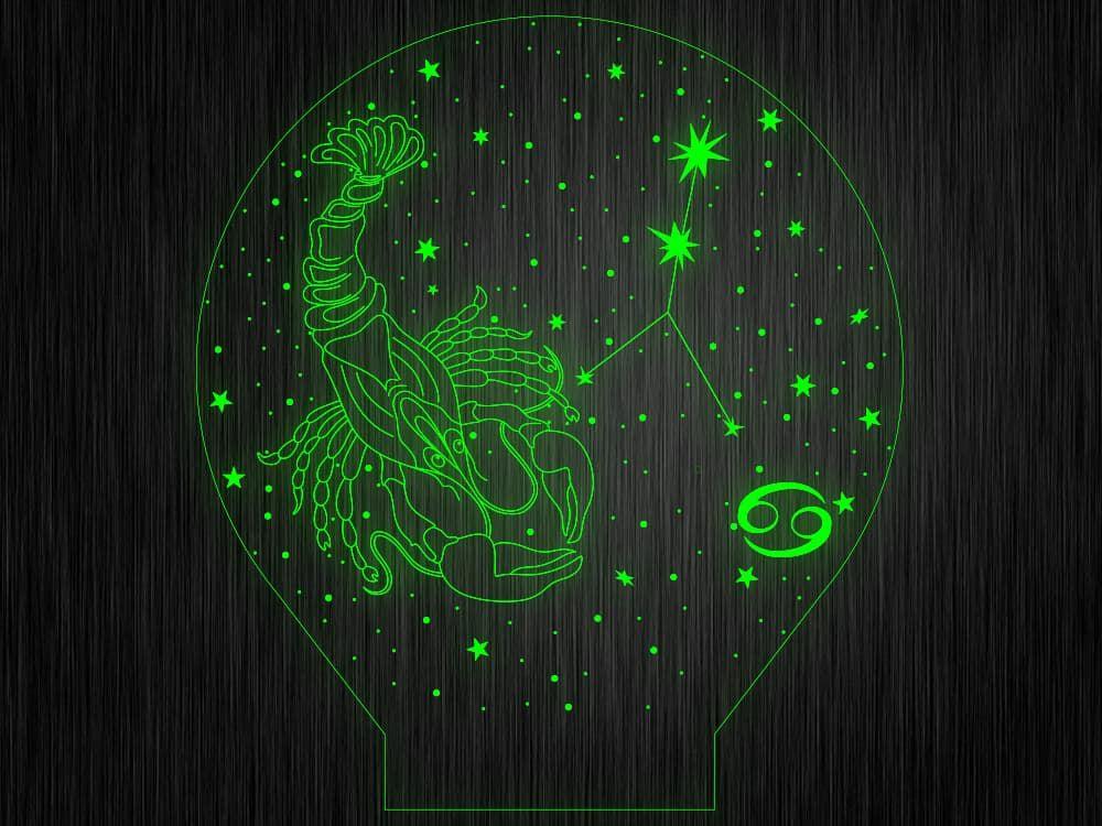 """Ночник """"Знак зодиака Рак"""" №85 на светодиодной подставке"""