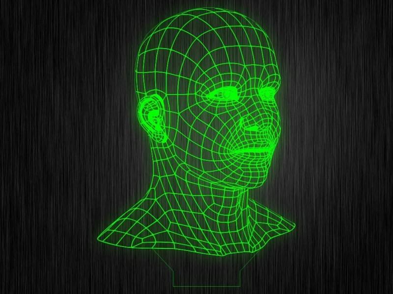 """Ночник """"Лицо 3D"""" на светодиодной подставке"""