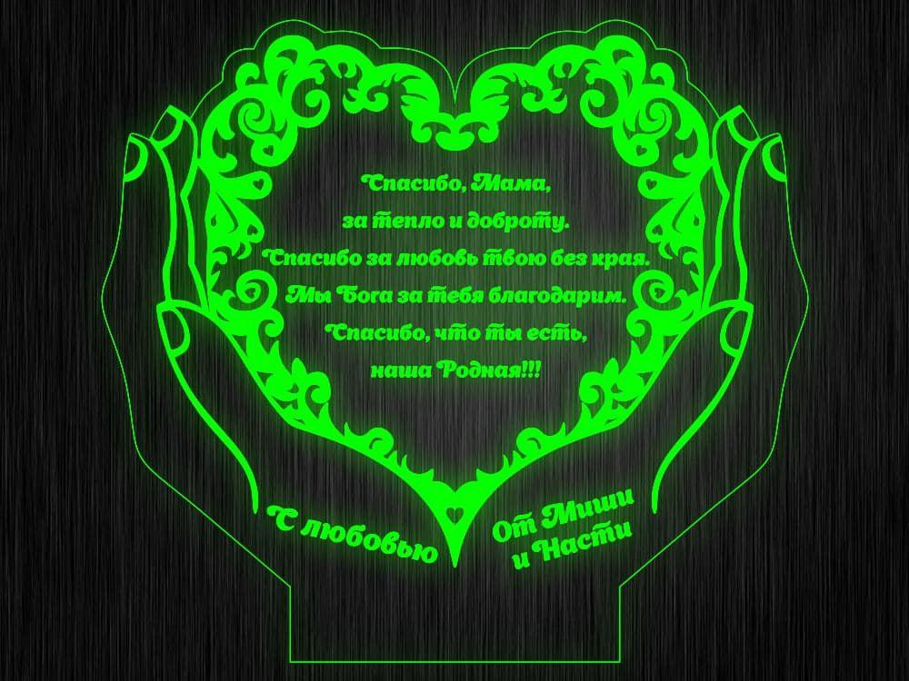 Макет сердце в руках винтажное №828 для светильника