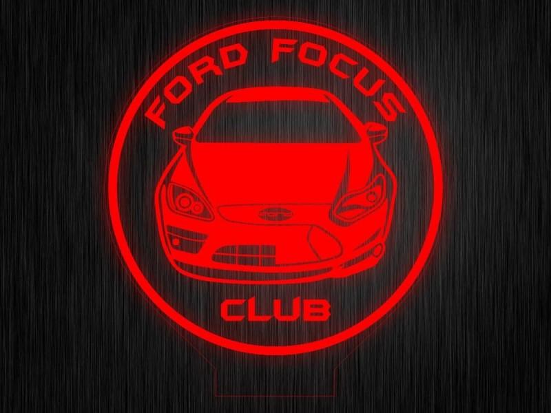 """Ночник """"Форд фокус клуб"""" на светодиодной подставке"""