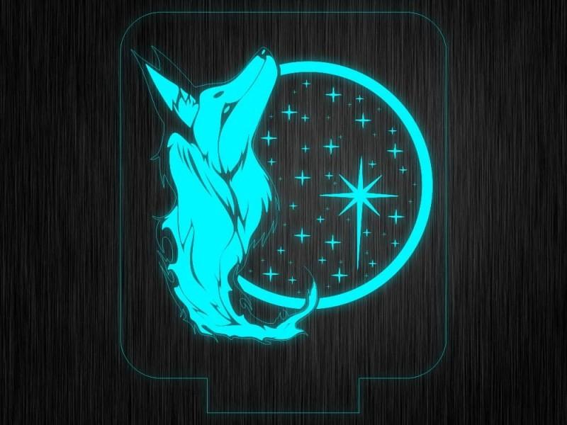 """Ночник """"Волк. Нбо №669"""" на светодиодной подставке"""