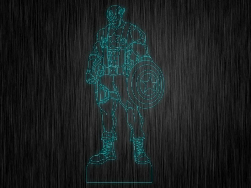 """Ночник """"Капитан Америка №493"""" на светодиодной подставке"""