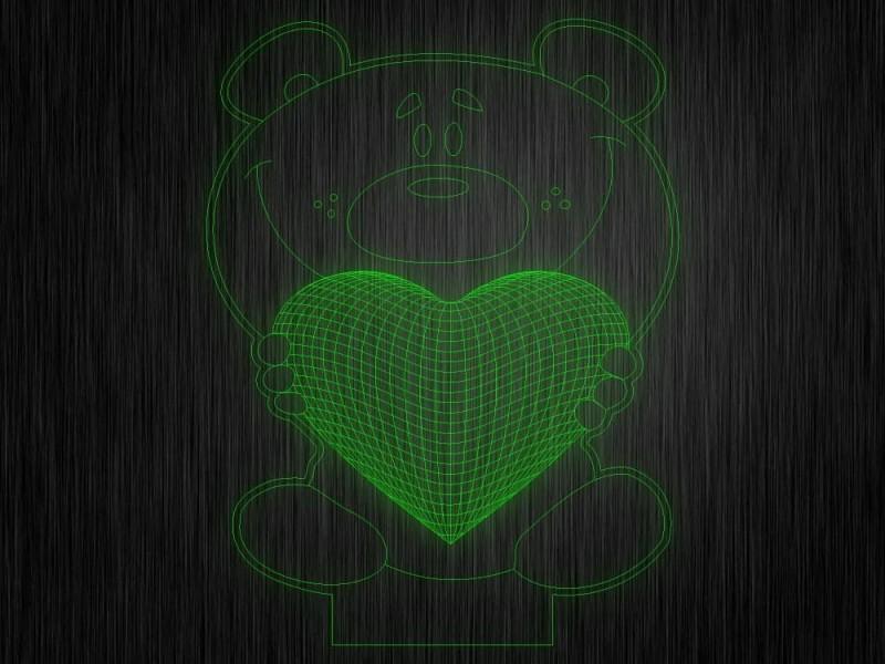 """Ночник """"Медведь. Сердце. ДСВ №599"""" на светодиодной подставке"""