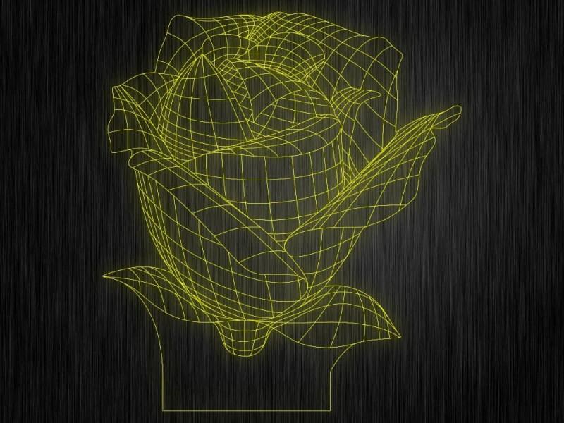 """Ночник """"Роза №414"""" на светодиодной подставке"""