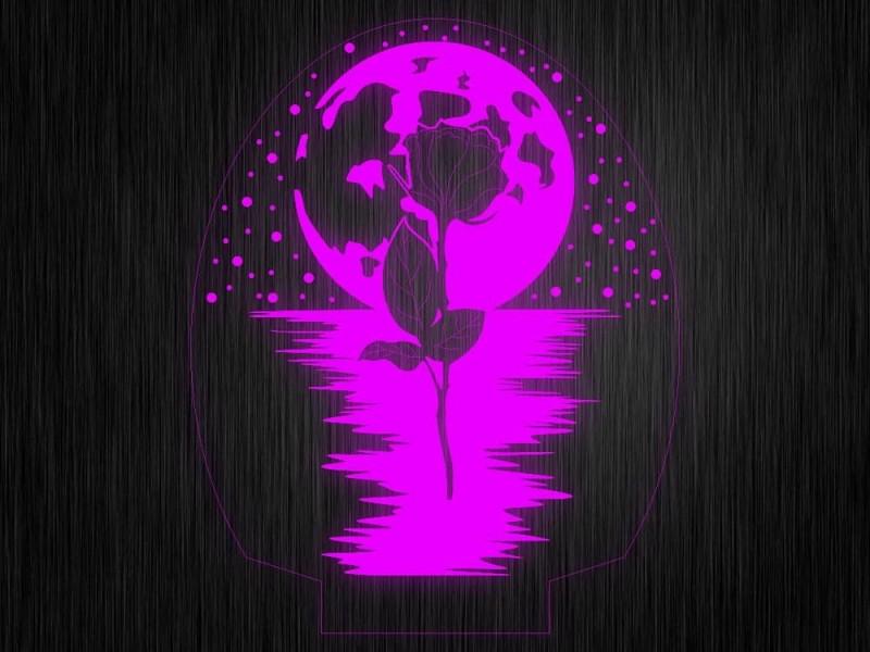 """Ночник """"Роза. Планта. Любовь №677"""" на светодиодной подставке"""