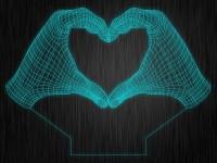 """Ночник """"Руки. Сердце. Любовь. ДСВ. 3D. №97"""" на светодиодной подставке"""