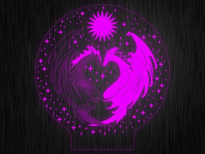 """Ночник """"Сердце. ДСВ. Драконы №654"""" на светодиодной подставке"""