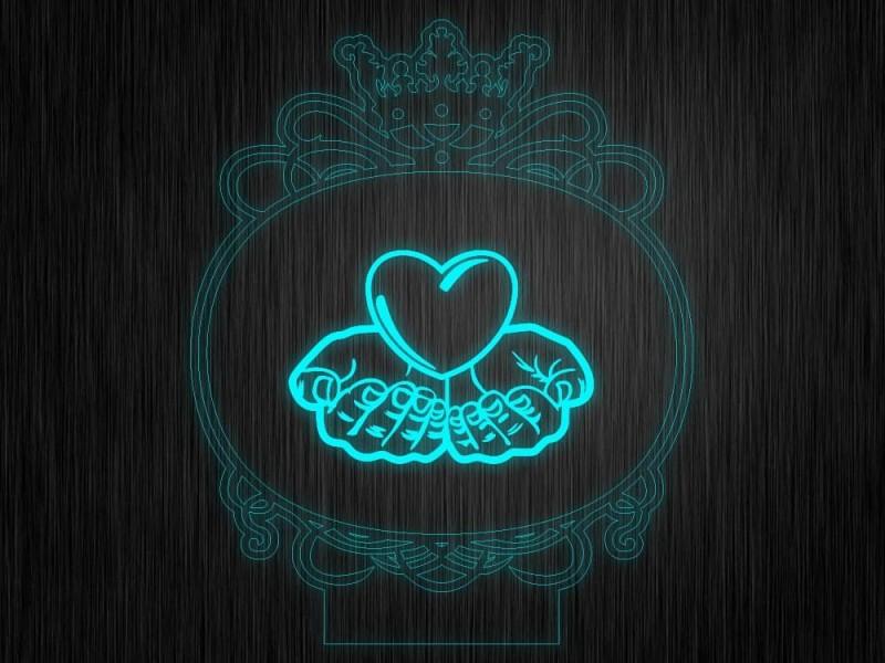 """Ночник """"Сердце. ДСВ. Рамка №673"""" на светодиодной подставке"""