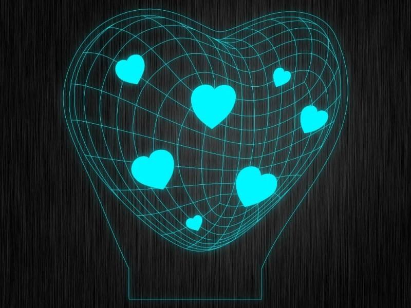 """Ночник """"Сердце. ДСВ. 3D №610"""" на светодиодной подставке"""