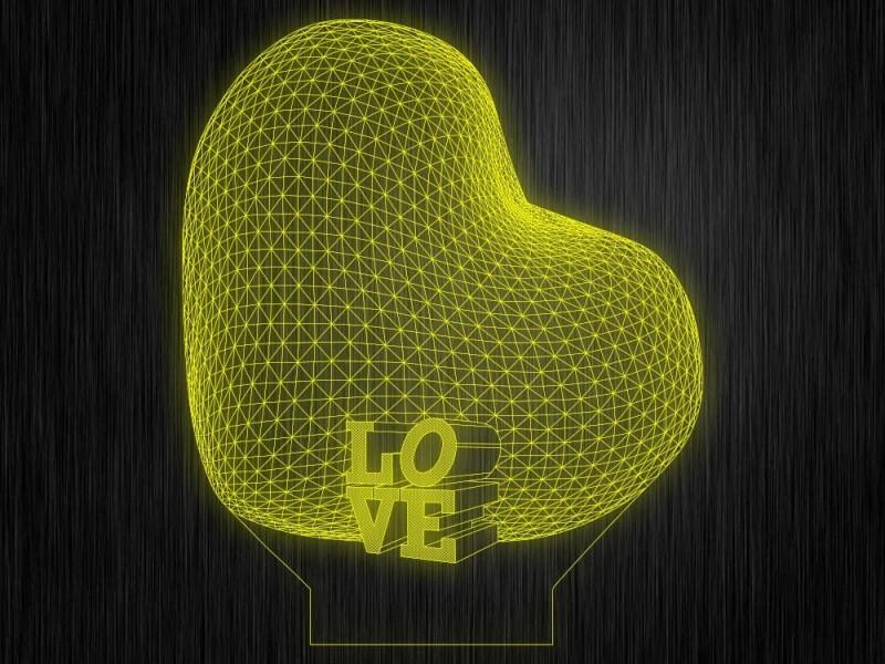 """Ночник """"Сердце. Любовь. ДСВ. 3D. № 102"""" на светодиодной подставке"""