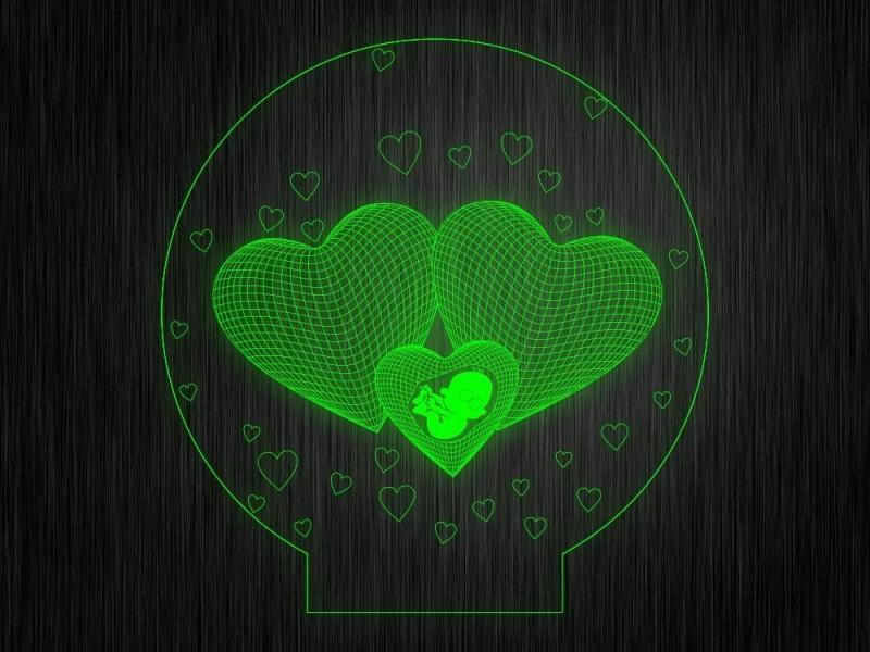 3D сердца №1055 на светодиодной подставке