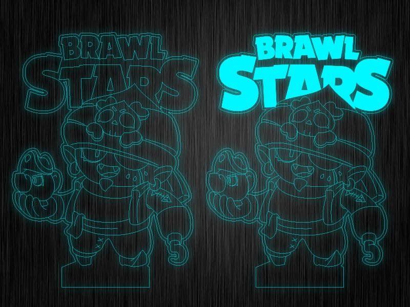 "Ночник ""Brawl Stars Джин пират"" на светодиодной подставке"