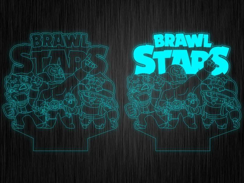 """Ночник """"Brawl Stars Эль Примо, Джин и Сэнди"""" на светодиодной подставке"""