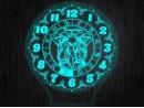 """Ночник часы """"Знаки зодиак близнецы"""" на светодиодной подставке"""