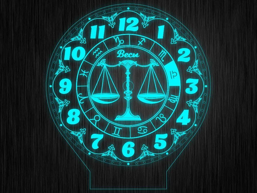 """Макет часы """"Знаки зодиак весы"""" для светильника"""