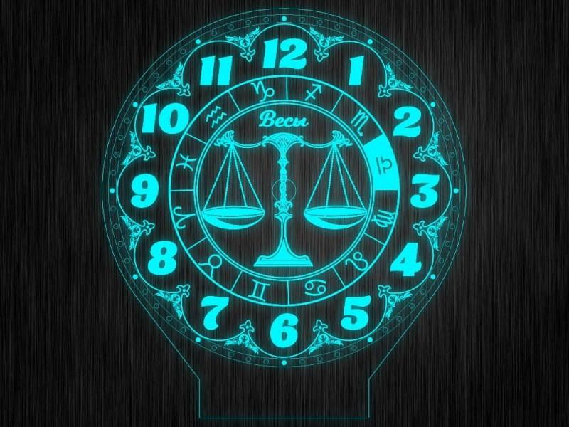 """Ночник часы """"Знаки зодиак весы"""" на светодиодной подставке"""
