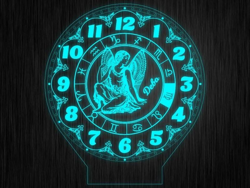 """Ночник часы """"Знаки зодиак дева"""" на светодиодной подставке"""