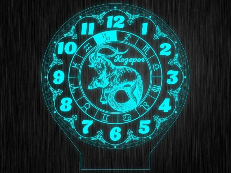 """Ночник часы """"Знаки зодиак козерог"""" на светодиодной подставке"""