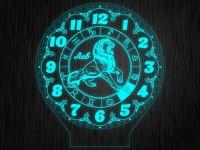 """Ночник часы """"Знаки зодиак лев"""" на светодиодной подставке"""