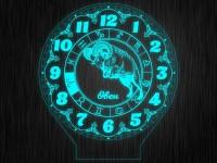 """Ночник часы """"Знаки зодиак овен"""" на светодиодной подставке"""