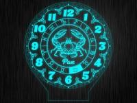 """Ночник часы """"Знаки зодиак рак"""" на светодиодной подставке"""