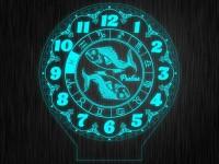 """Ночник часы """"Знаки зодиак рыбы"""" на светодиодной подставке"""