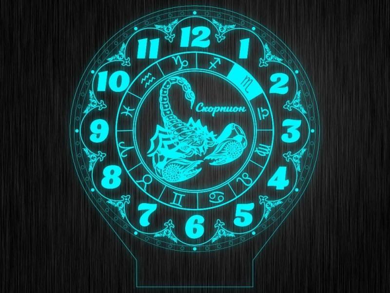 """Ночник часы """"Знаки зодиак скорпион"""" на светодиодной подставке"""