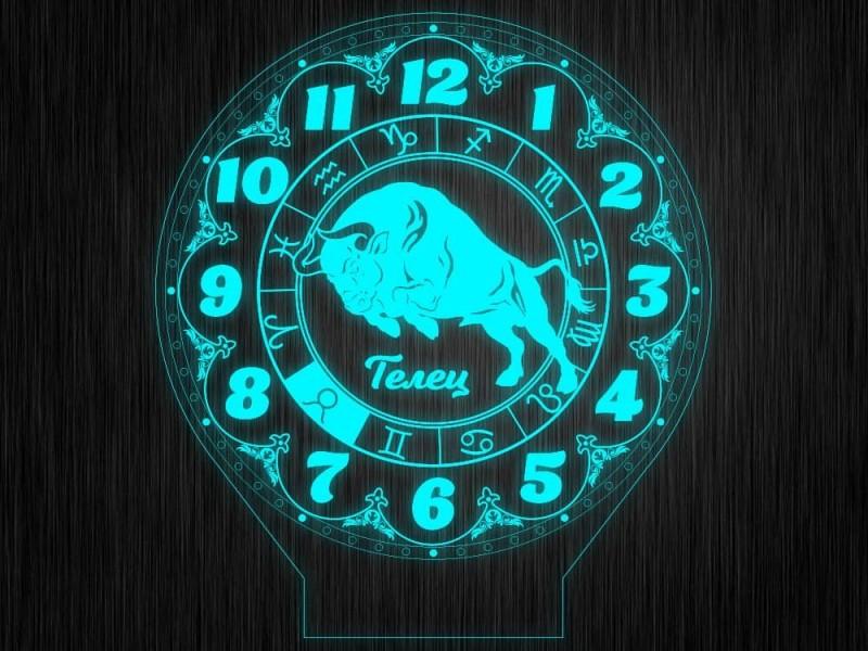 """Ночник часы """"Знаки зодиак телец"""" на светодиодной подставке"""