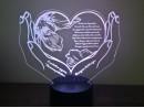 Ночник сердце в руках №907 на светодиодной подставке