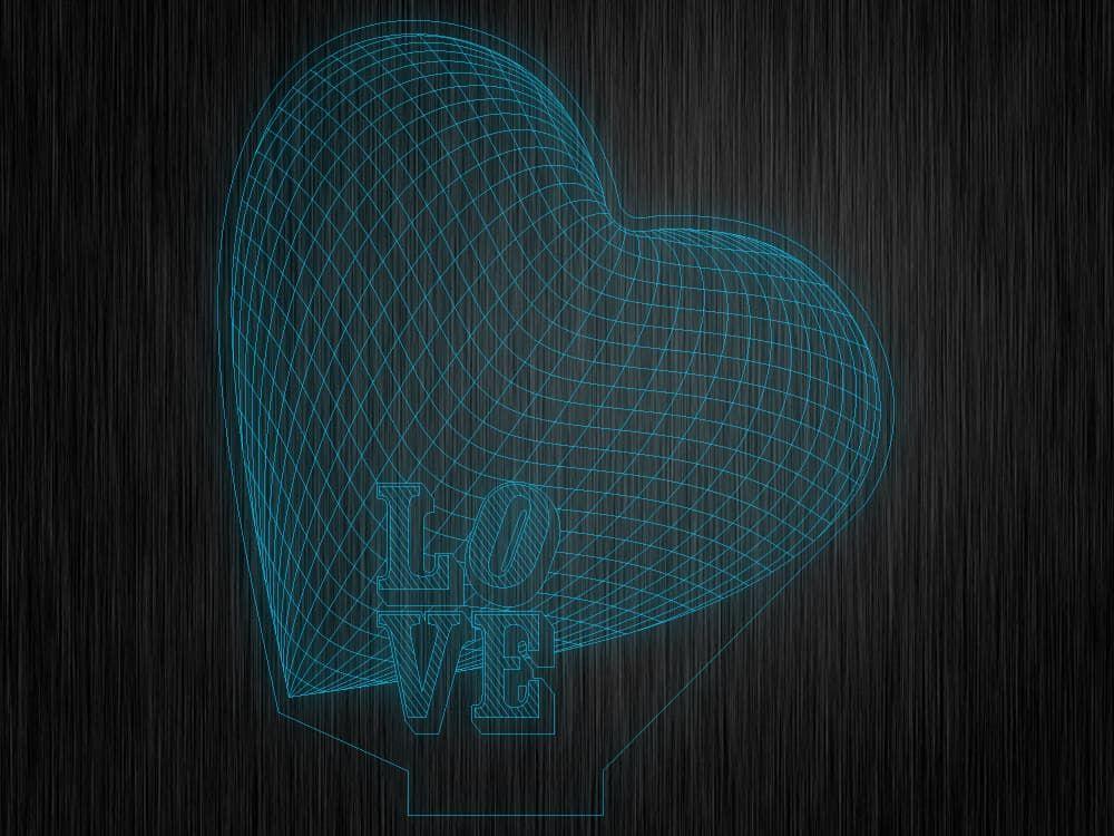 "3D ночник ""Love"" на светодиодной подставке"