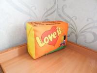 """Подушка с фотопечатью 20*30*10 см, """"Love is"""", габардин, микропух"""