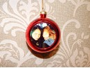 Новогодний стеклянный шар с металлической вставкой голубой
