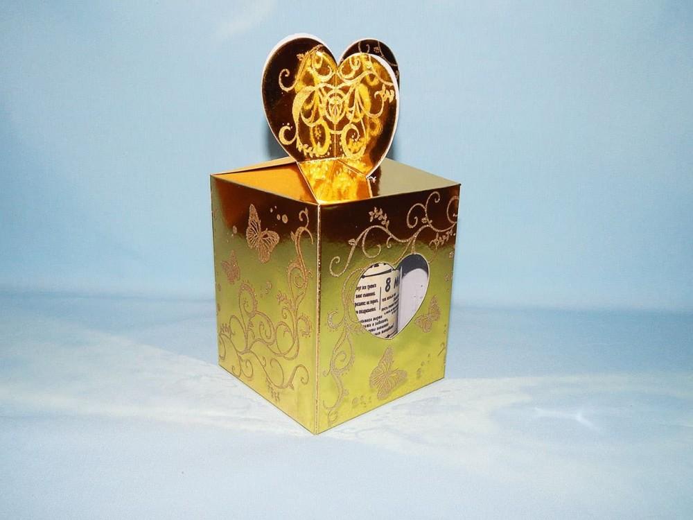 """Коробка для кружки с вырезом """"Сердце"""" ЗОЛОТО"""