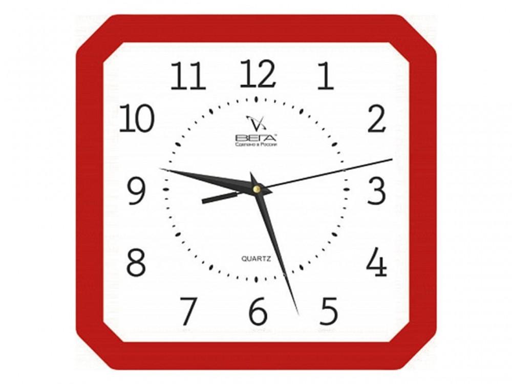 Часы Ч4 (П4) 27,5*27,5 см квадр. со скош. углами цветной ободок
