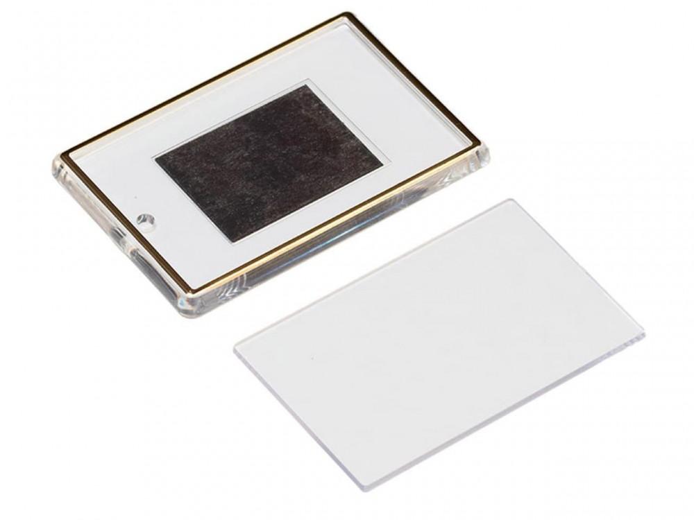 Акриловый магнит 52x77 прозрачный с золотым тиснением