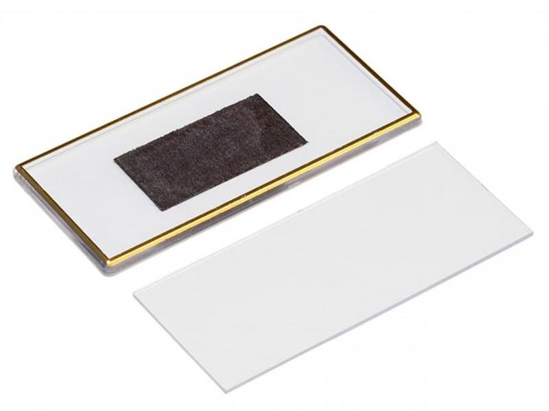 Акриловый магнит 60x133 прозрачный с золотым тиснением