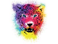 """""""Голова цветного леопарда"""" Изображение для нанесения на одежду № 0859"""