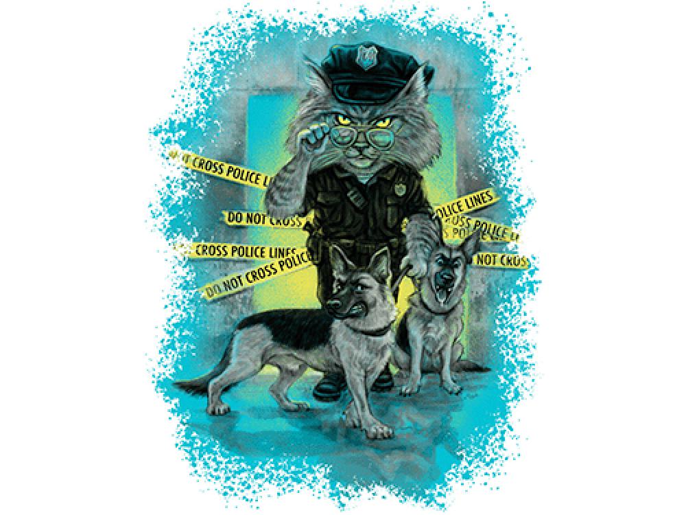 """""""Кот и собаки"""" Изображение для нанесения на одежду № 0867"""