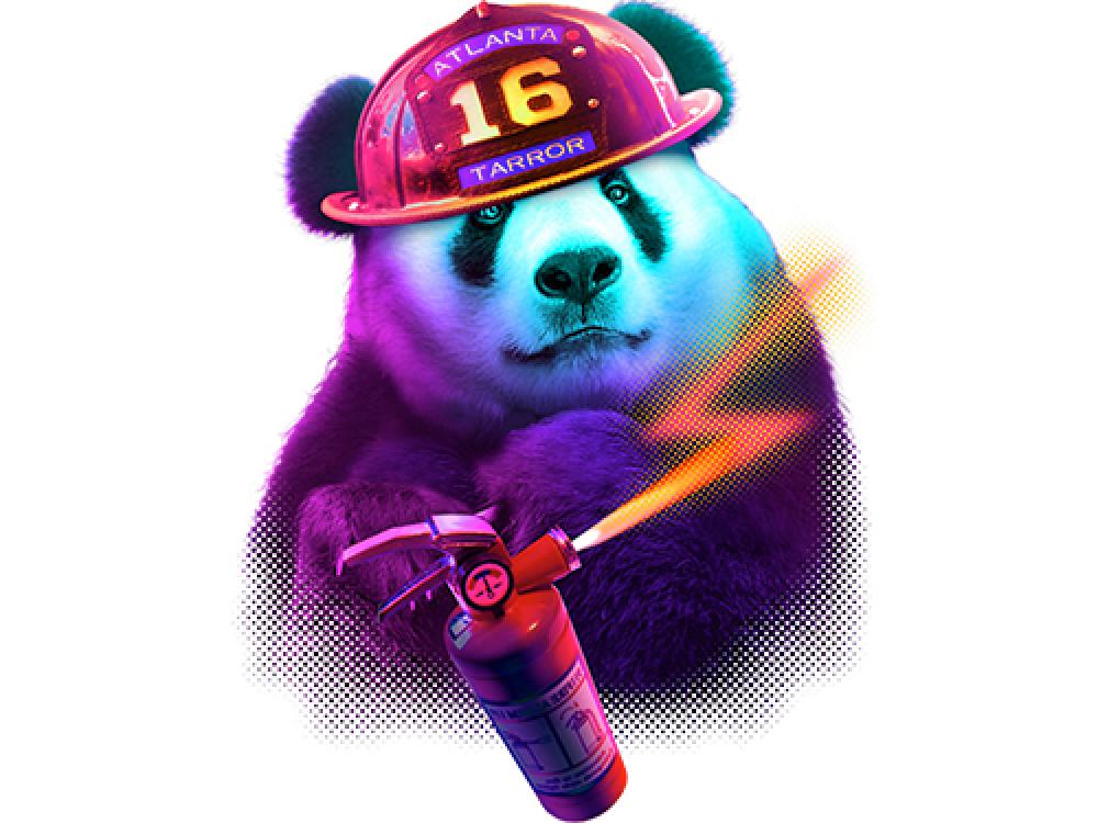 """""""Цветной медведь панда"""" Изображение для нанесения на одежду № 0899"""