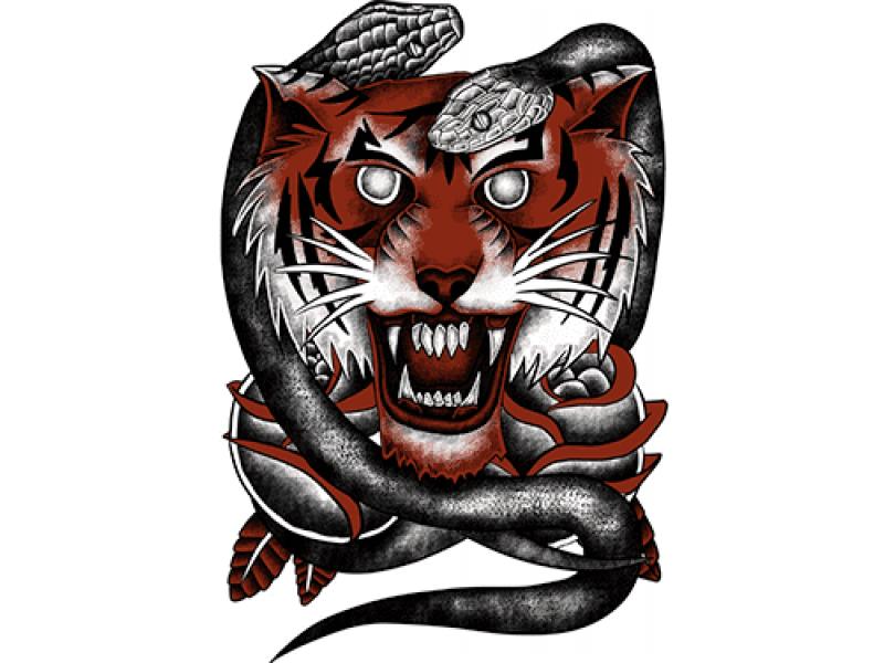 """""""Тигр и змея"""" Изображение для нанесения на одежду № 0905"""