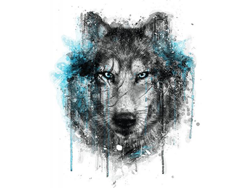 """""""Голова волка смотрит"""" Изображение для нанесения на одежду № 0918"""