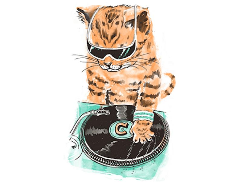 """""""DJ кот"""" Изображение для нанесения на одежду № 0922"""
