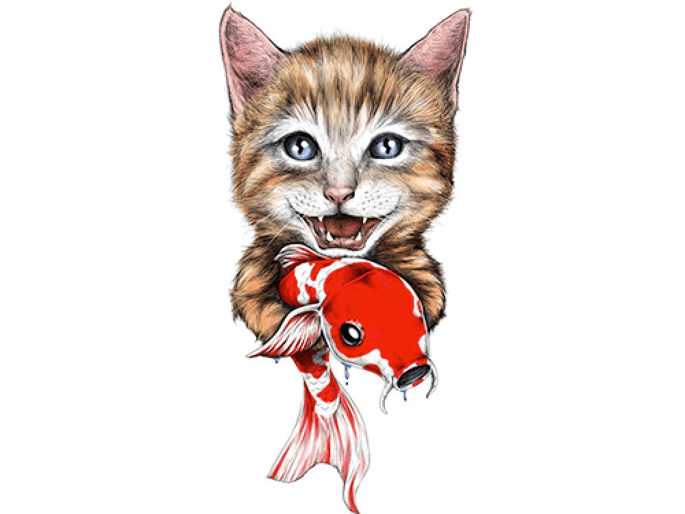 """""""Кошка с рыбкой"""" Изображение для нанесения на одежду № 0933"""